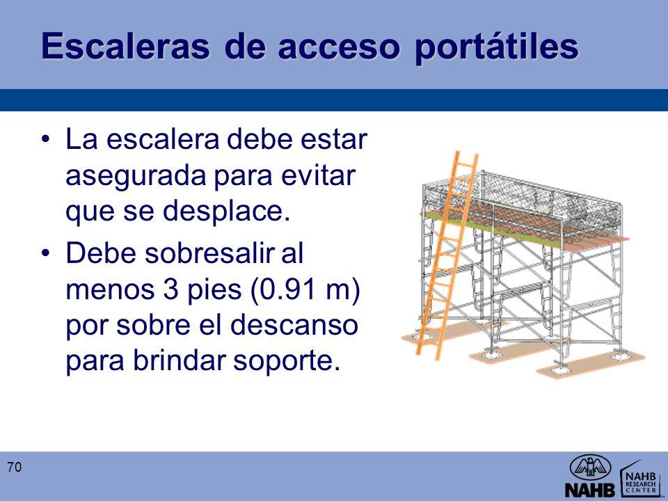 Escaleras de acceso portátiles La escalera debe estar asegurada para evitar que se desplace. Debe sobresalir al menos 3 pies (0.91 m) por sobre el des