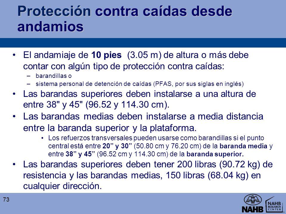 Protección contra caídas desde andamios El andamiaje de 10 pies (3.05 m) de altura o más debe contar con algún tipo de protección contra caídas: –bara
