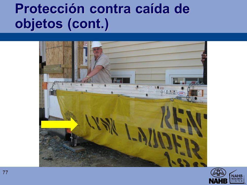 Protección contra caída de objetos (cont.) 77