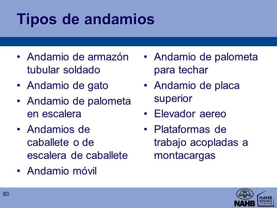 Tipos de andamios Andamio de armazón tubular soldado Andamio de gato Andamio de palometa en escalera Andamios de caballete o de escalera de caballete