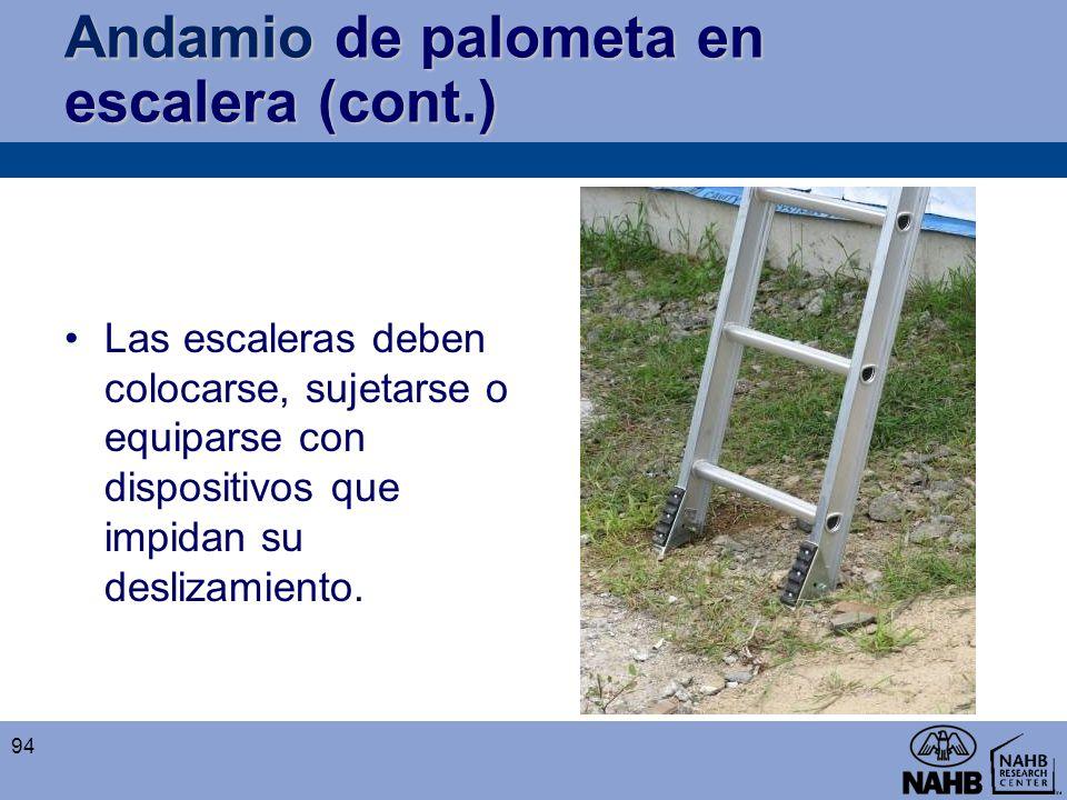 Andamio de palometa en escalera (cont.) Las escaleras deben colocarse, sujetarse o equiparse con dispositivos que impidan su deslizamiento. 94