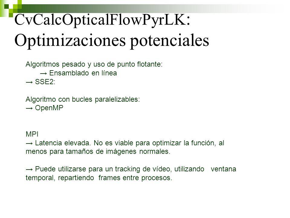 CvCalcOpticalFlowPyrLK : Optimizaciones potenciales Algoritmos pesado y uso de punto flotante: Ensamblado en línea SSE2: Algoritmo con bucles paralelizables: OpenMP MPI Latencia elevada.