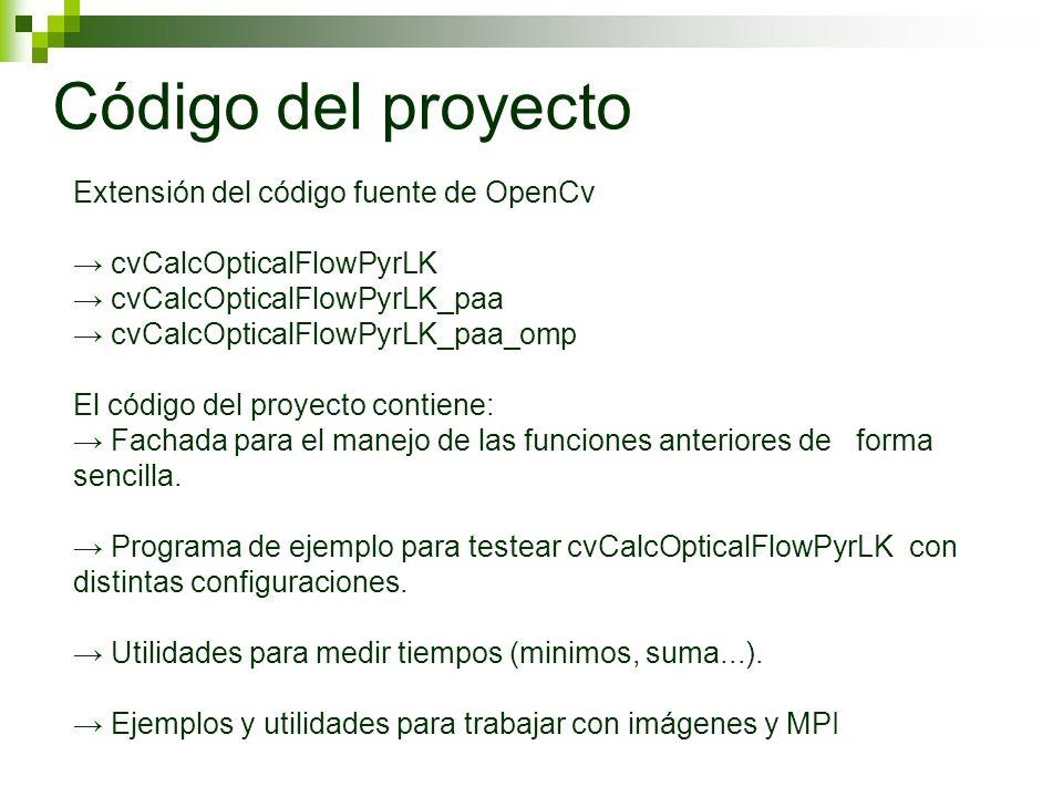 Extensión del código fuente de OpenCv cvCalcOpticalFlowPyrLK cvCalcOpticalFlowPyrLK_paa cvCalcOpticalFlowPyrLK_paa_omp El código del proyecto contiene: Fachada para el manejo de las funciones anteriores de forma sencilla.
