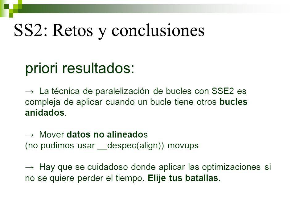 SS2: Retos y conclusiones priori resultados: La técnica de paralelización de bucles con SSE2 es compleja de aplicar cuando un bucle tiene otros bucles anidados.