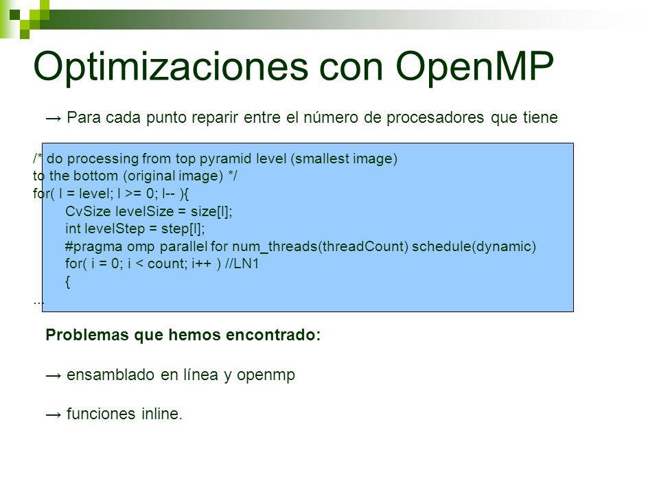 Optimizaciones con OpenMP Para cada punto reparir entre el número de procesadores que tiene Problemas que hemos encontrado: ensamblado en línea y openmp funciones inline.