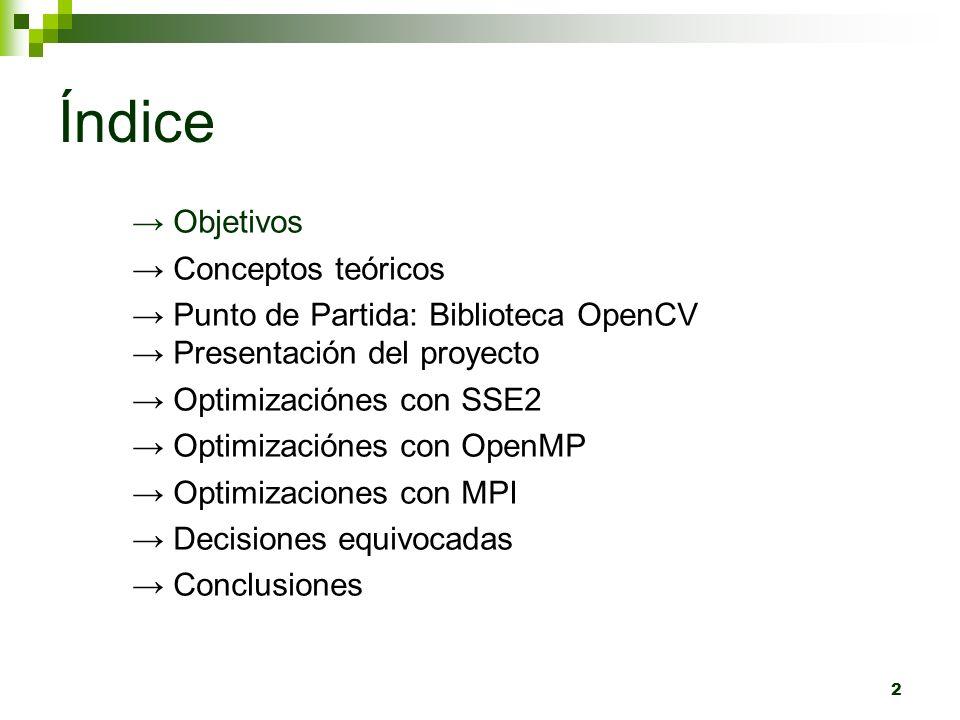 Índice 2 Objetivos Conceptos teóricos Punto de Partida: Biblioteca OpenCV Presentación del proyecto Optimizaciónes con SSE2 Optimizaciónes con OpenMP Optimizaciones con MPI Decisiones equivocadas Conclusiones