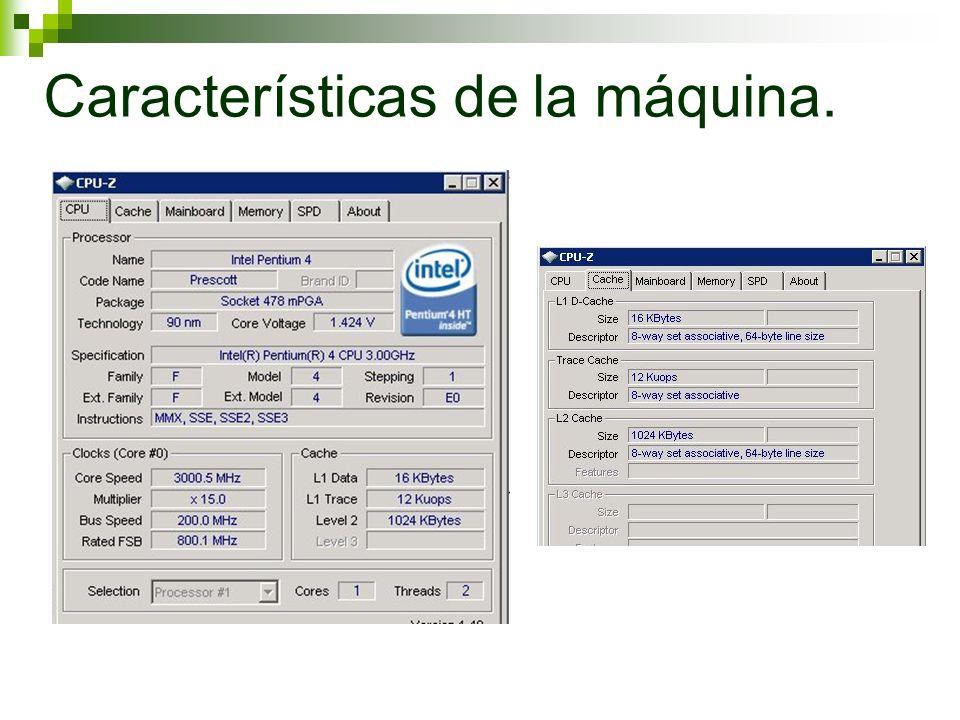 Características de la máquina.