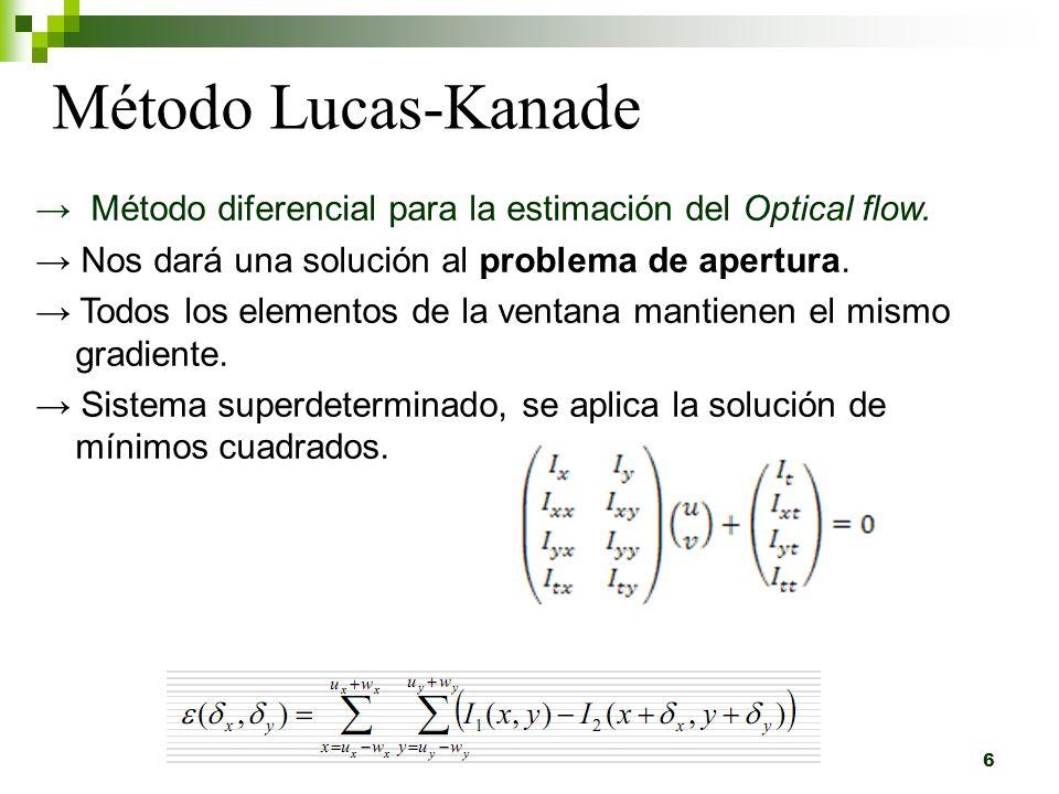 Método Lucas-Kanade Piramidal 7 - Cada píxel contiene la distribución Gaussiana de él con sus vecinos - Con esto obtenemos la imagen en varios niveles jerárquicos.