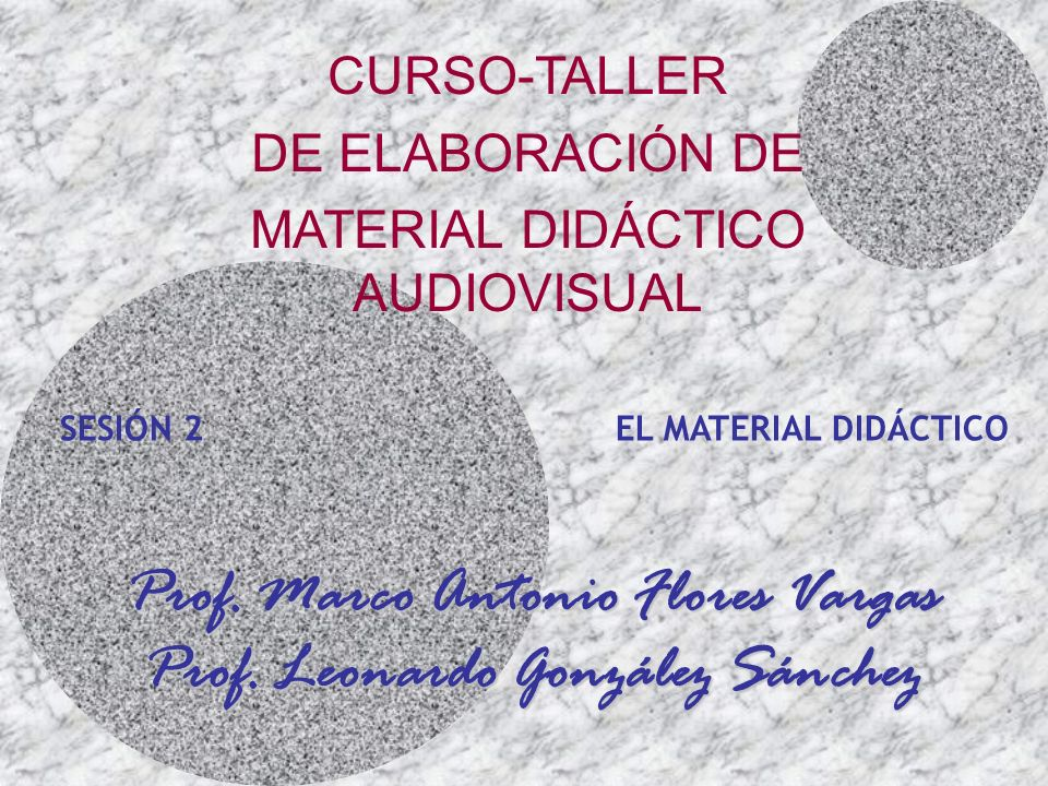 Prof. Marco Antonio Flores Vargas Prof. Leonardo González Sánchez SESIÓN 2 EL MATERIAL DIDÁCTICO CURSO-TALLER DE ELABORACIÓN DE MATERIAL DIDÁCTICO AUD