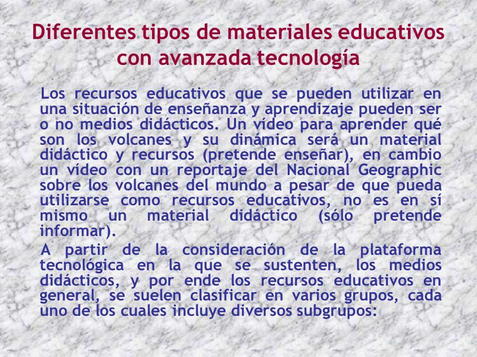 Diferentes tipos de materiales educativos con avanzada tecnología Los recursos educativos que se pueden utilizar en una situación de enseñanza y apren