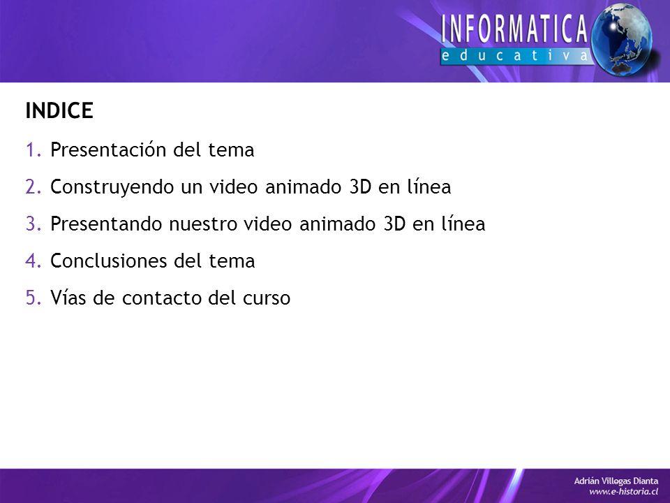 INDICE 1.Presentación del tema 2.Construyendo un video animado 3D en línea 3.Presentando nuestro video animado 3D en línea 4.Conclusiones del tema 5.Vías de contacto del curso