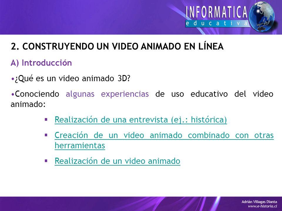 2. CONSTRUYENDO UN VIDEO ANIMADO EN LÍNEA A) Introducción ¿Qué es un video animado 3D.