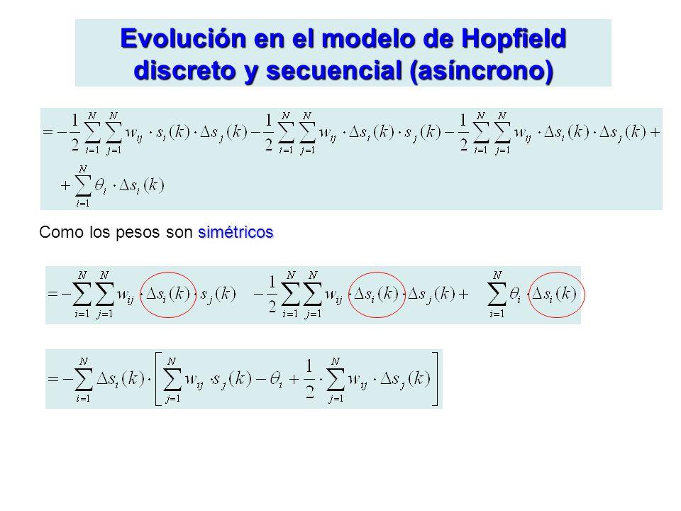 Evolución en el modelo de Hopfield discreto y secuencial (asíncrono) simétricos Como los pesos son simétricos