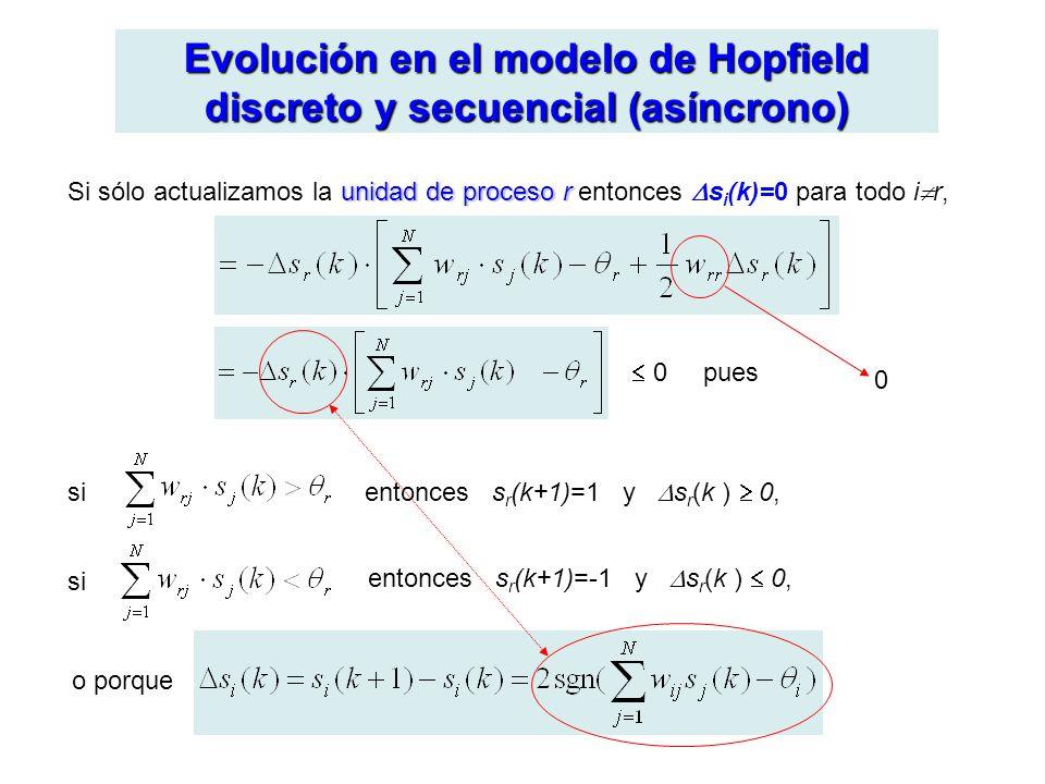 Evolución en el modelo de Hopfield discreto y secuencial (asíncrono) unidad de proceso r Si sólo actualizamos la unidad de proceso r entonces s i (k)=0 para todo i r, 0 pues entonces s r (k+1)=1 y s r (k ) 0, entonces s r (k+1)=-1 y s r (k ) 0, si o porque 0