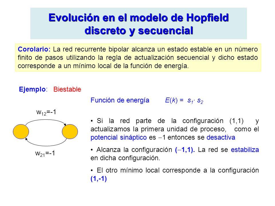 Evolución en el modelo de Hopfield discreto y secuencial Corolario: La red recurrente bipolar alcanza un estado estable en un número finito de pasos utilizando la regla de actualización secuencial y dicho estado corresponde a un mínimo local de la función de energía.