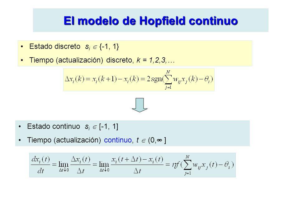 El modelo de Hopfield continuo Estado discreto s i {-1, 1} Tiempo (actualización) discreto, k = 1,2,3,… Estado continuo s i [-1, 1] Tiempo (actualización) continuo, t (0, ]