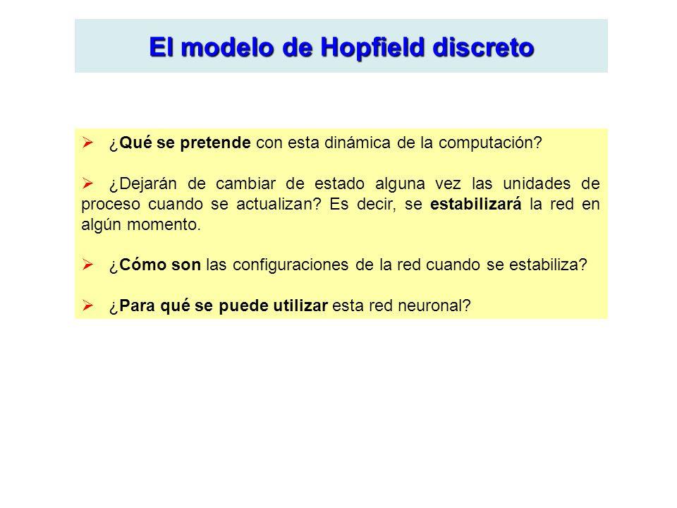 El modelo de Hopfield discreto ¿Qué se pretende con esta dinámica de la computación? ¿Dejarán de cambiar de estado alguna vez las unidades de proceso