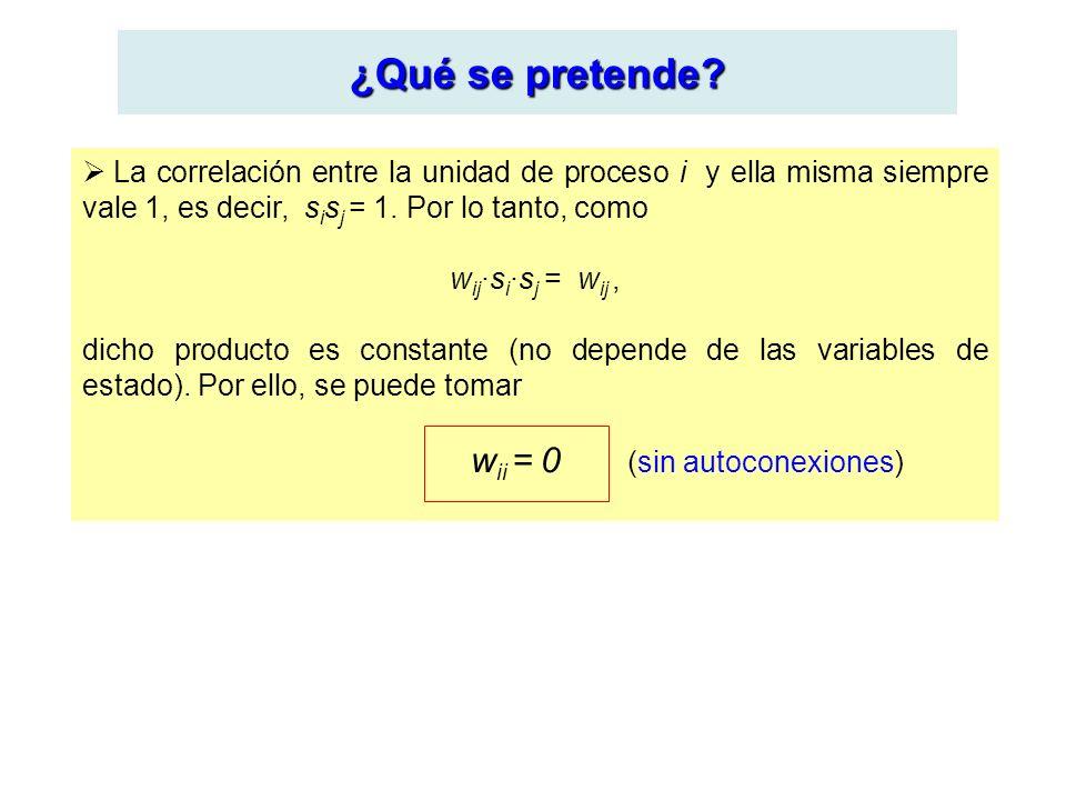 ¿Qué se pretende? La correlación entre la unidad de proceso i y ella misma siempre vale 1, es decir, s i s j = 1. Por lo tanto, como w ij ·s i ·s j =