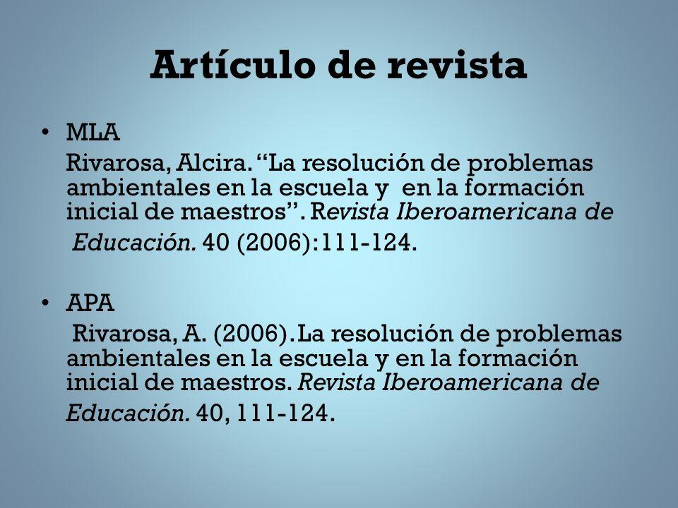 Artículo de revista MLA Rivarosa, Alcira.