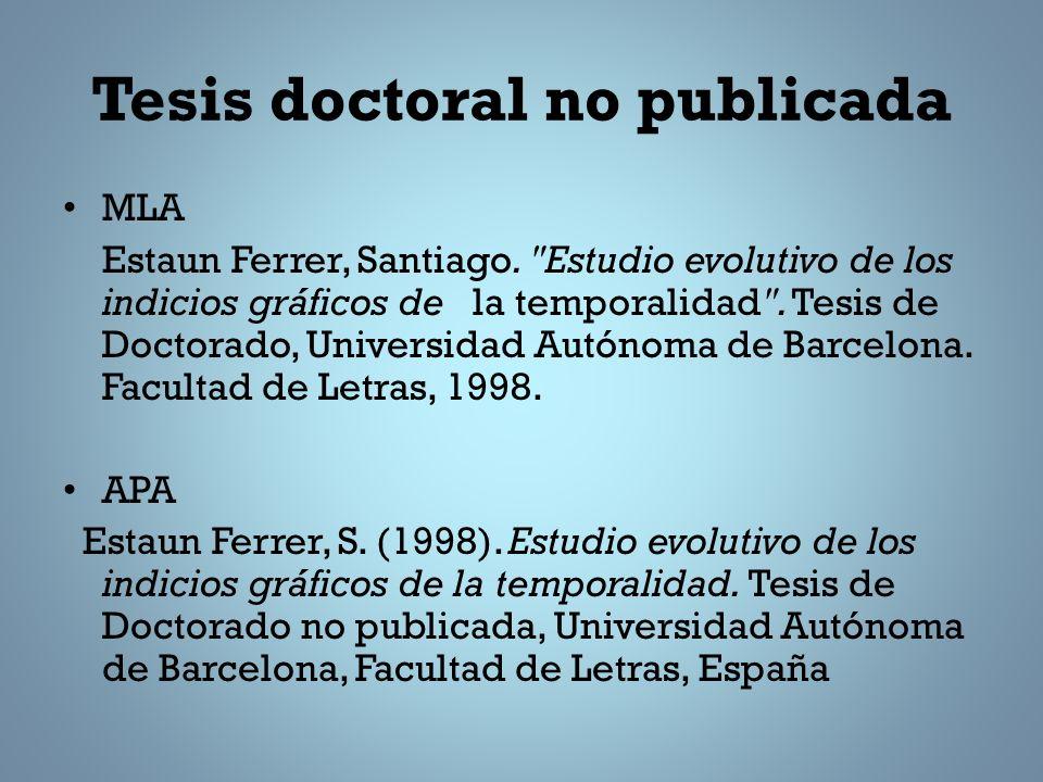 Tesis doctoral no publicada MLA Estaun Ferrer, Santiago.