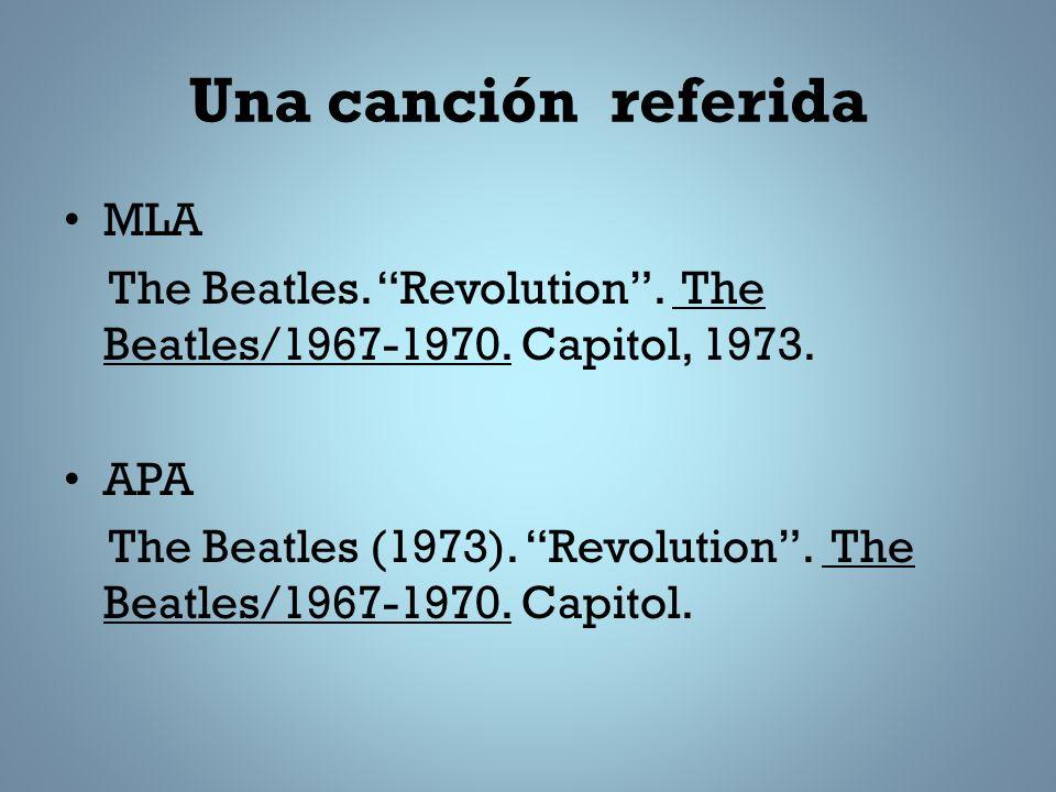 Una canción referida MLA The Beatles.Revolution. The Beatles/1967-1970.