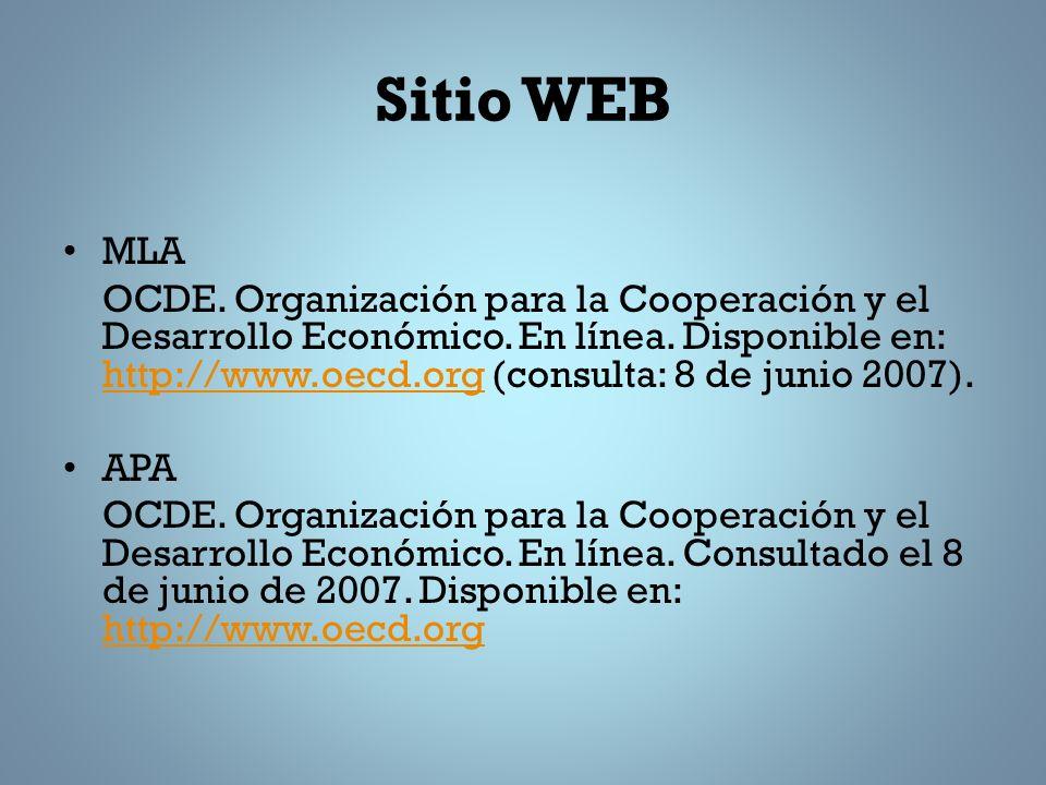 Sitio WEB MLA OCDE.Organización para la Cooperación y el Desarrollo Económico.