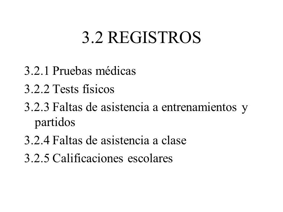 3.2 REGISTROS 3.2.1 Pruebas médicas 3.2.2 Tests físicos 3.2.3 Faltas de asistencia a entrenamientos y partidos 3.2.4 Faltas de asistencia a clase 3.2.5 Calificaciones escolares