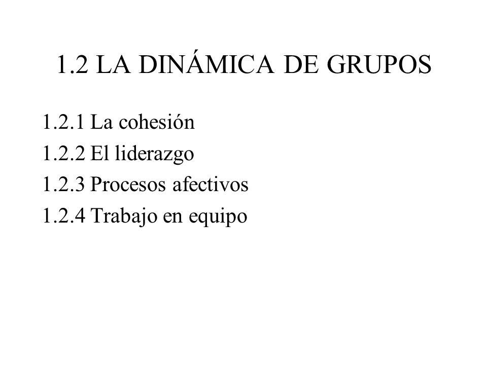 1.2 LA DINÁMICA DE GRUPOS 1.2.1 La cohesión 1.2.2 El liderazgo 1.2.3 Procesos afectivos 1.2.4 Trabajo en equipo