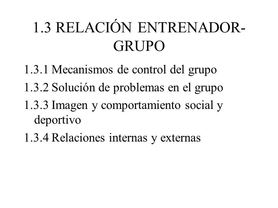 1.3 RELACIÓN ENTRENADOR- GRUPO 1.3.1 Mecanismos de control del grupo 1.3.2 Solución de problemas en el grupo 1.3.3 Imagen y comportamiento social y deportivo 1.3.4 Relaciones internas y externas