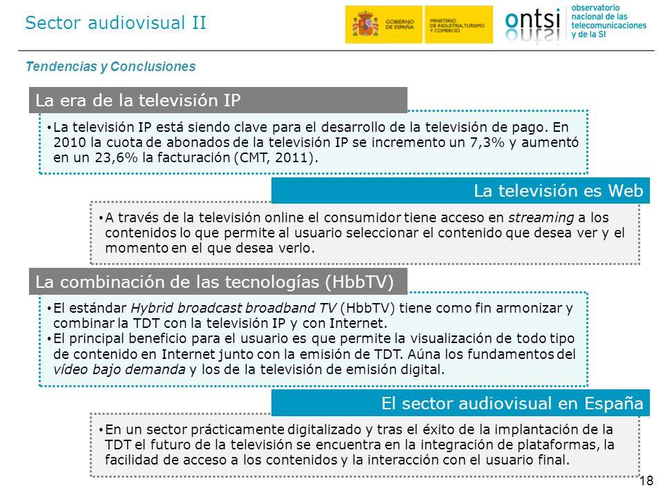 Sector audiovisual II 18 La televisión IP está siendo clave para el desarrollo de la televisión de pago. En 2010 la cuota de abonados de la televisión