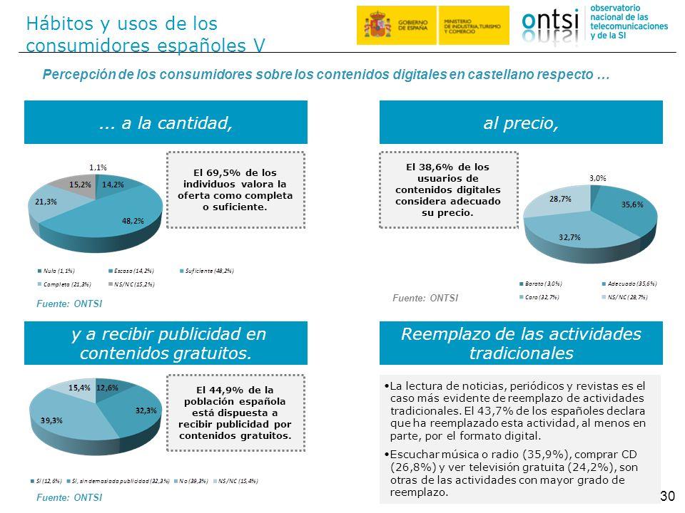 Hábitos y usos de los consumidores españoles V 30 Percepción de los consumidores sobre los contenidos digitales en castellano respecto …... a la canti