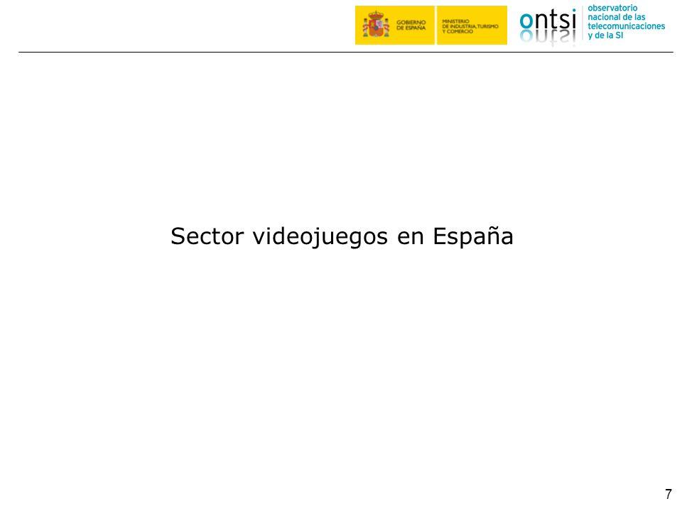 Evolución de la facturación del sector de los videojuegos (en millones de euros) Sector videojuegos I 8 En 2010 la cifra de negocio por la venta de software de videojuegos en España ascendió a 631 millones de euros, manteniéndose en el nivel del año anterior.