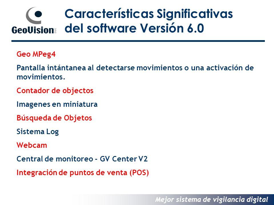 Mejor sistema de vigilancia digital Geo MPeg4 Pantalla intántanea al detectarse movimientos o una activación de movimientos.
