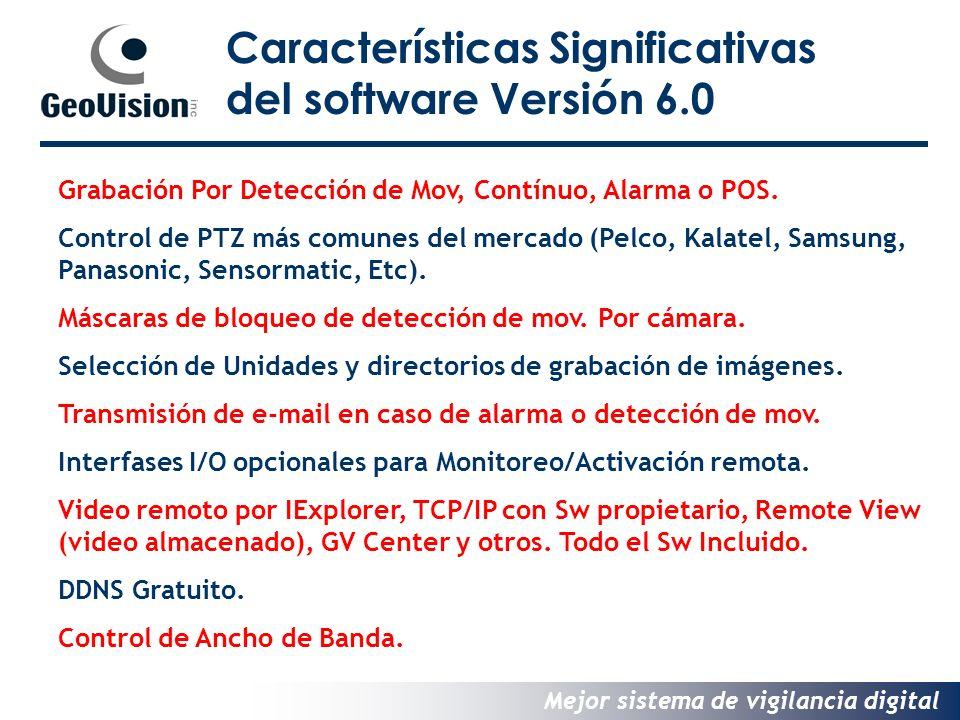 Mejor sistema de vigilancia digital Características Significativas del software Versión 6.0 Grabación Por Detección de Mov, Contínuo, Alarma o POS.