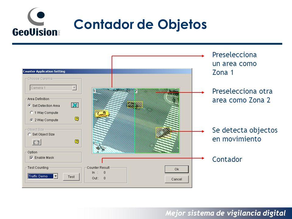 Mejor sistema de vigilancia digital Contador de Objetos Preselecciona un area como Zona 1 Preselecciona otra area como Zona 2 Se detecta objectos en movimiento Contador
