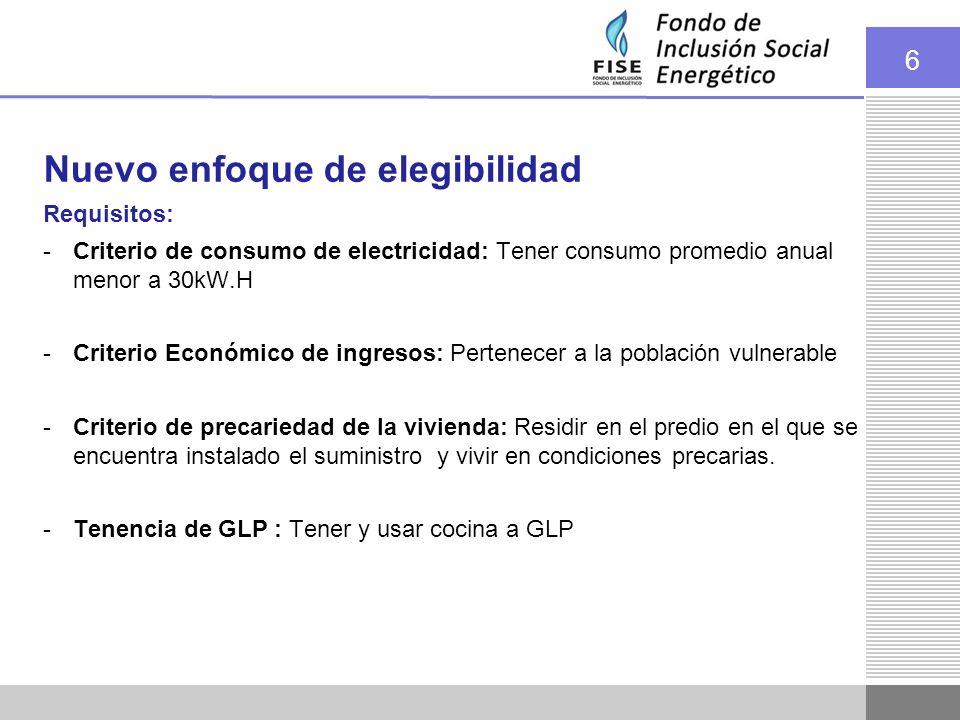 6 Nuevo enfoque de elegibilidad Requisitos: -Criterio de consumo de electricidad: Tener consumo promedio anual menor a 30kW.H -Criterio Económico de i