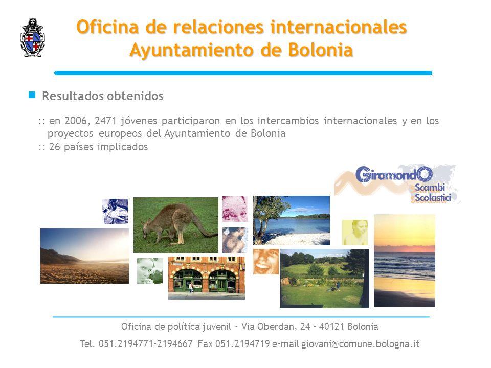 :: en 2006, 2471 jóvenes participaron en los intercambios internacionales y en los proyectos europeos del Ayuntamiento de Bolonia :: 26 países implicados Resultados obtenidos Oficina de relaciones internacionales Ayuntamiento de Bolonia Oficina de política juvenil - Via Oberdan, 24 - 40121 Bolonia Tel.