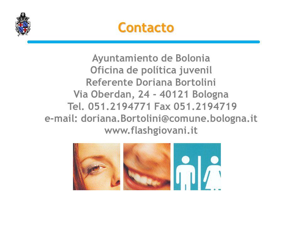 Ayuntamiento de Bolonia Oficina de política juvenil Referente Doriana Bortolini Via Oberdan, 24 - 40121 Bologna Tel.