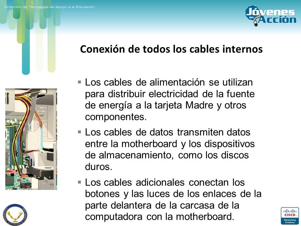 Conexión de todos los cables internos Los cables de alimentación se utilizan para distribuir electricidad de la fuente de energía a la tarjeta Madre y