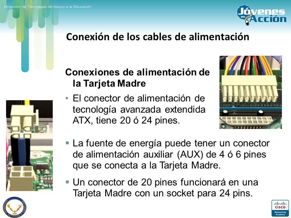 Conexión de los cables de alimentación Conexiones de alimentación de la Tarjeta Madre El conector de alimentación de tecnología avanzada extendida ATX