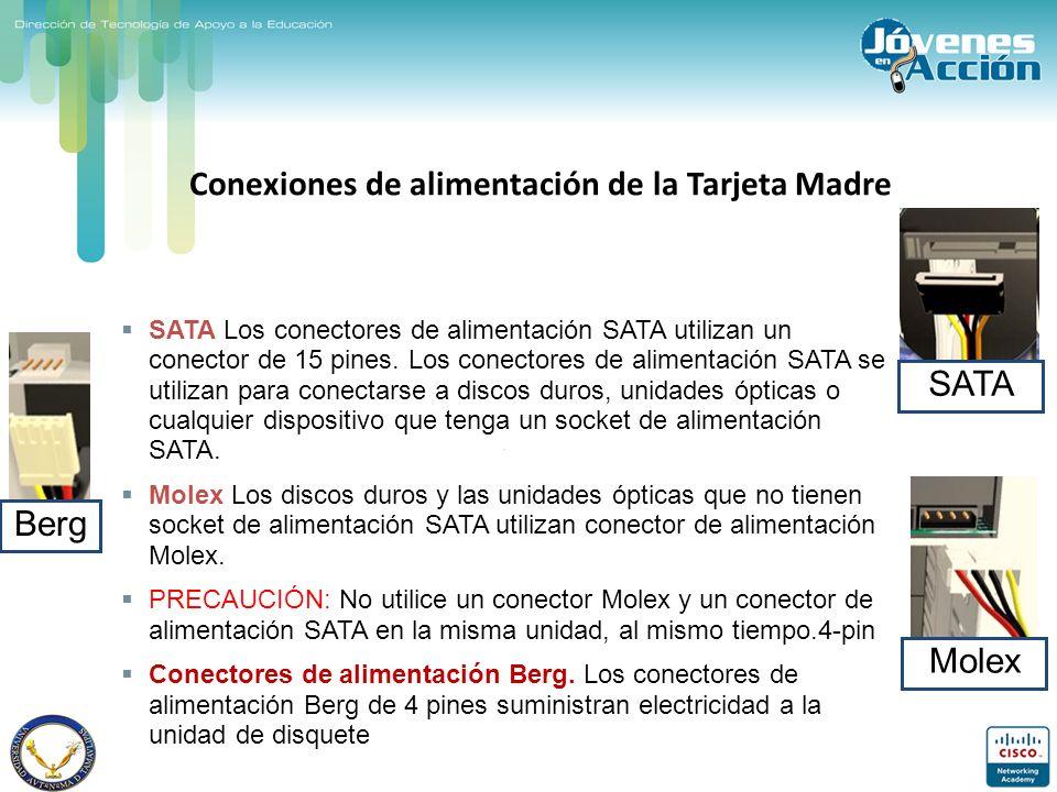 Berg Conexiones de alimentación de la Tarjeta Madre SATA Los conectores de alimentación SATA utilizan un conector de 15 pines. Los conectores de alime