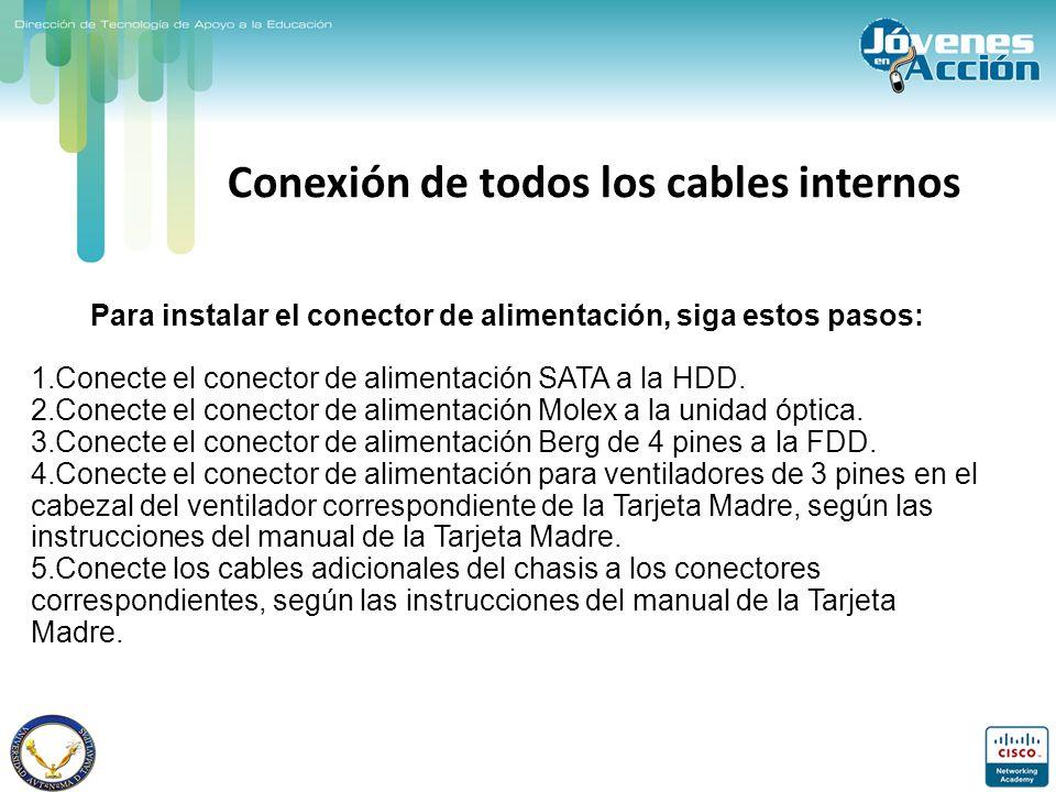 Conexión de todos los cables internos Para instalar el conector de alimentación, siga estos pasos: 1.Conecte el conector de alimentación SATA a la HDD