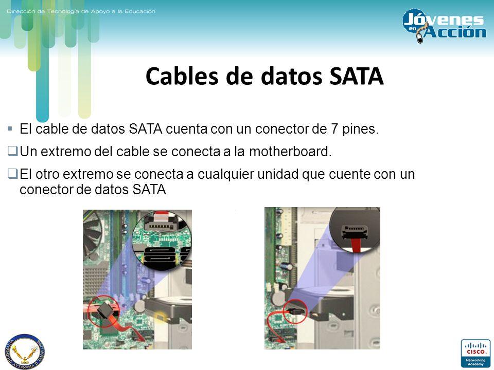 Cables de datos SATA El cable de datos SATA cuenta con un conector de 7 pines. Un extremo del cable se conecta a la motherboard. El otro extremo se co