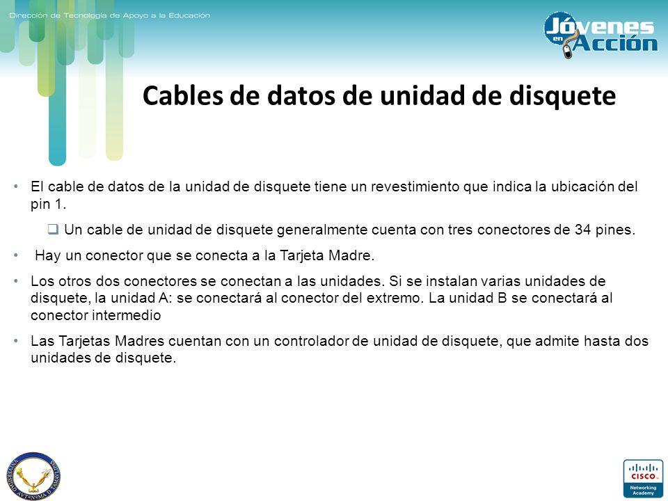 Cables de datos de unidad de disquete El cable de datos de la unidad de disquete tiene un revestimiento que indica la ubicación del pin 1. Un cable de