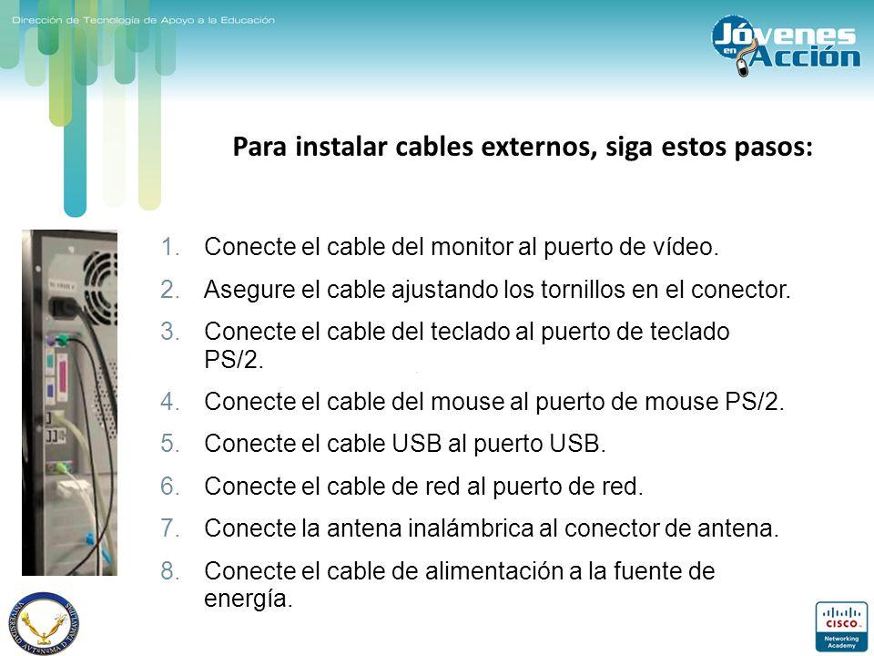 Para instalar cables externos, siga estos pasos: 1.Conecte el cable del monitor al puerto de vídeo. 2.Asegure el cable ajustando los tornillos en el c