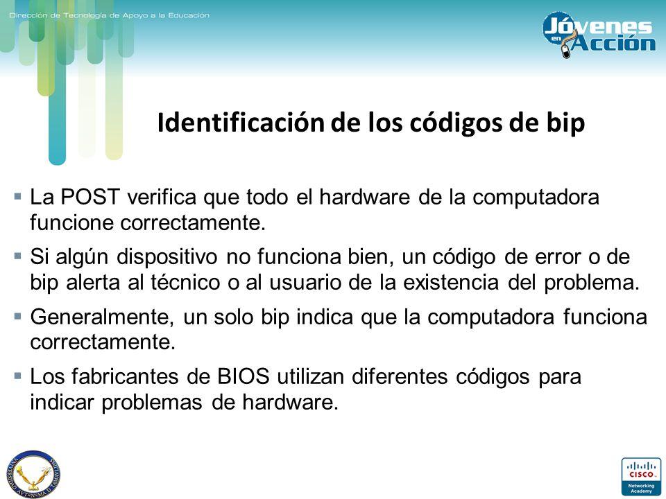 Identificación de los códigos de bip La POST verifica que todo el hardware de la computadora funcione correctamente. Si algún dispositivo no funciona