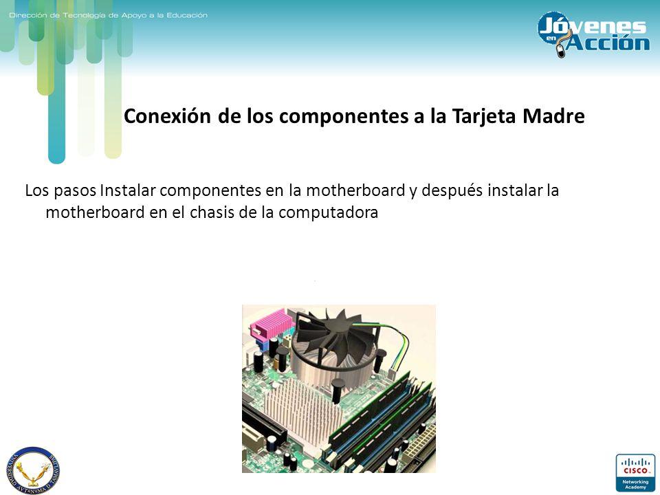 Conexión de los componentes a la Tarjeta Madre Los pasos Instalar componentes en la motherboard y después instalar la motherboard en el chasis de la c