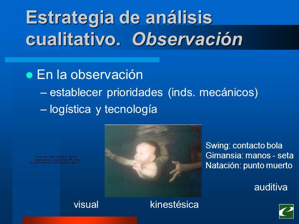 Estrategia de análisis cualitativo. Observación En la observación –establecer prioridades (inds. mecánicos) –logística y tecnología Swing: contacto bo