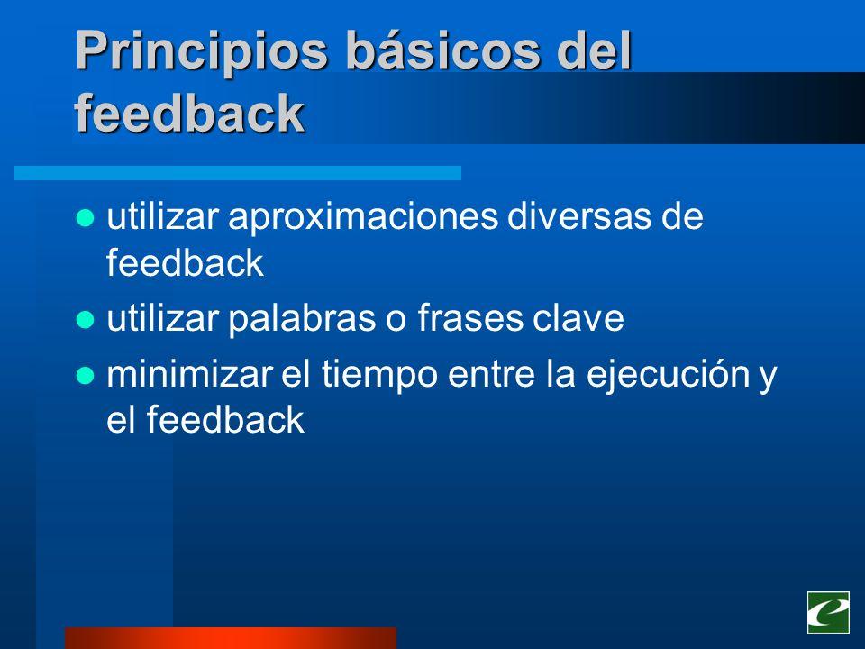 Principios básicos del feedback utilizar aproximaciones diversas de feedback utilizar palabras o frases clave minimizar el tiempo entre la ejecución y
