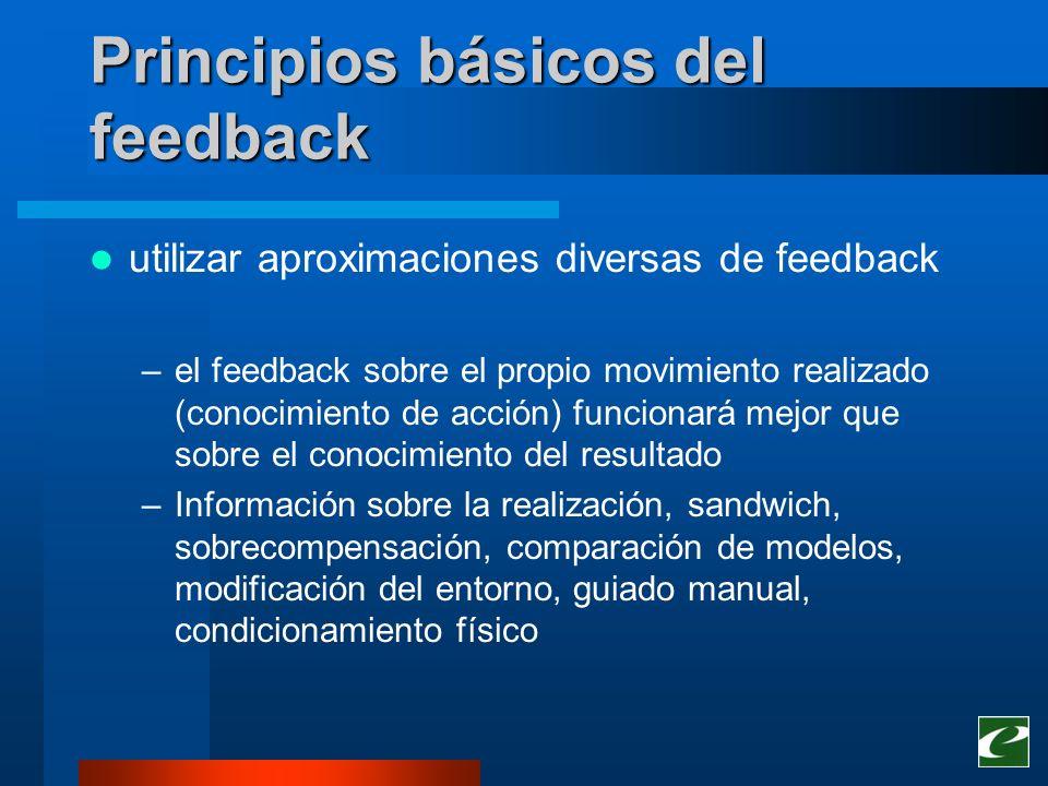 Principios básicos del feedback utilizar aproximaciones diversas de feedback –el feedback sobre el propio movimiento realizado (conocimiento de acción